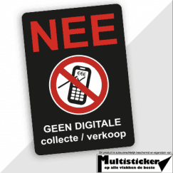 Geen digitale collecte of verkopers sticker
