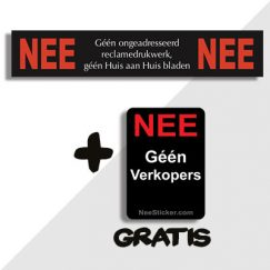 Nee Nee Sticker en Geen Verkopers sticker