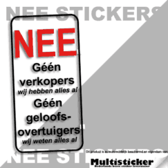 Geen verkopers of geloofsovertuigers sticker transparant